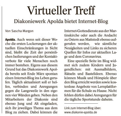 """""""Virtueller Treff"""" – Blog des Diakoniewerk Apolda"""