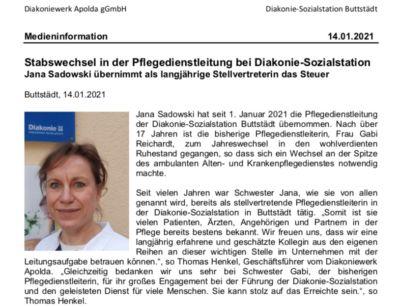 Stabswechsel in der Pflegedienstleitung bei Diakonie-Sozialstation